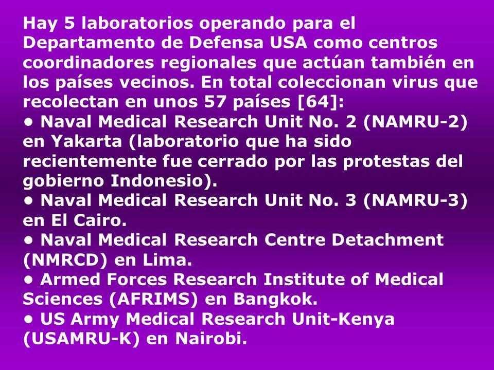 Hay 5 laboratorios operando para el Departamento de Defensa USA como centros coordinadores regionales que actúan también en los países vecinos. En total coleccionan virus que recolectan en unos 57 países [64]: